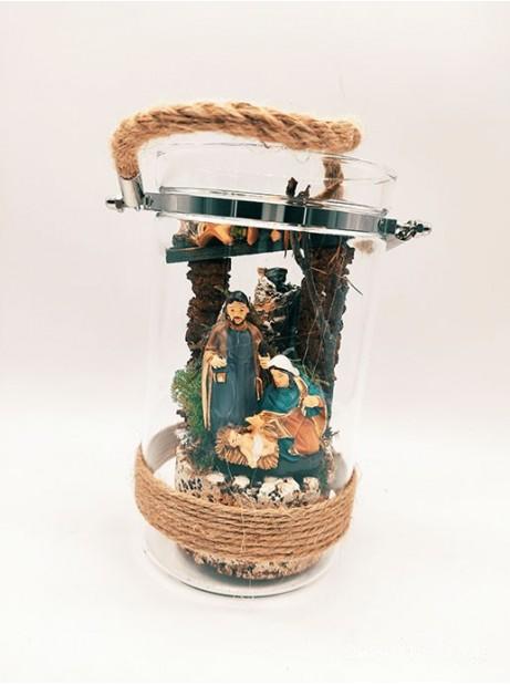 Natività in vetro 17cm presepe con Juta Natale campana
