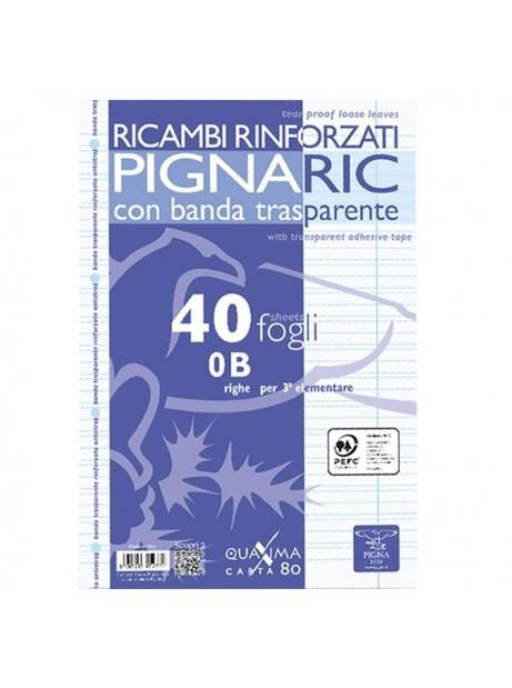Fogli Ricambi schedario A4 Rigo B Rinforzati 3° elementare 80 Gr 40 Fogli 21x30