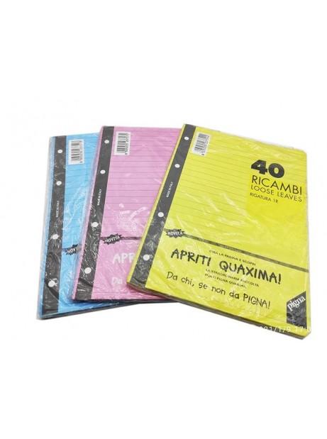 Fogli Ricambi Schedario A5 Quadretti 5mm Colorati Rosa Giallo Azzurro