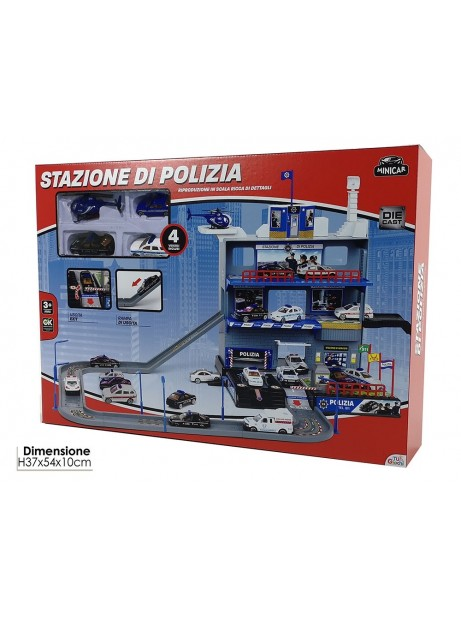 Stazione di Polizia pista con 4 veicoli inclusi 37x54x10cm bambino macchine