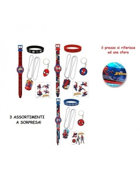 Sfera Spiderman con orologio digitale + 3 sorprese collana bracciale stickers