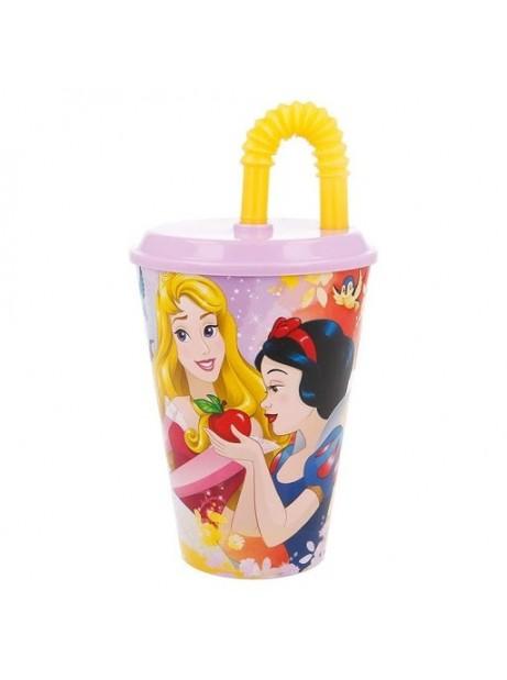 Bicchiere Principesse 430ml in plastica con cannuccia e tappo
