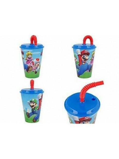 Bicchiere Super Mario 430ml in plastica con cannuccia e tappo