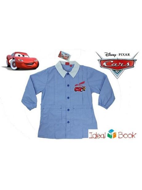 Grembiule CARS Disney Bambino Celeste a Quadretti Scuola Asilo