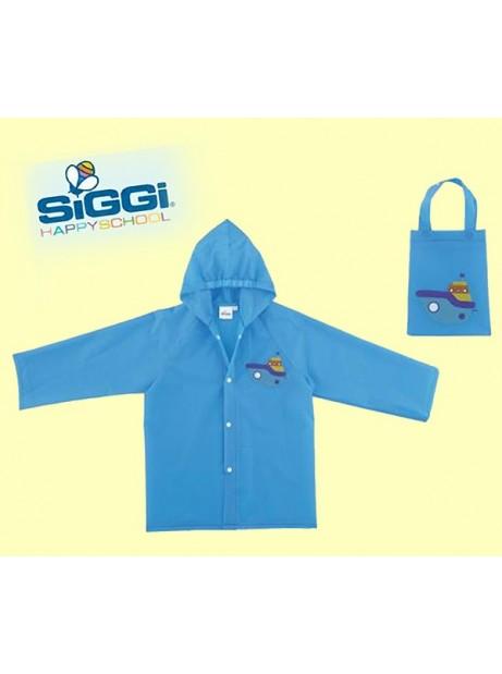 Impermeabile PVC Bambino Azzurro con Bottoni