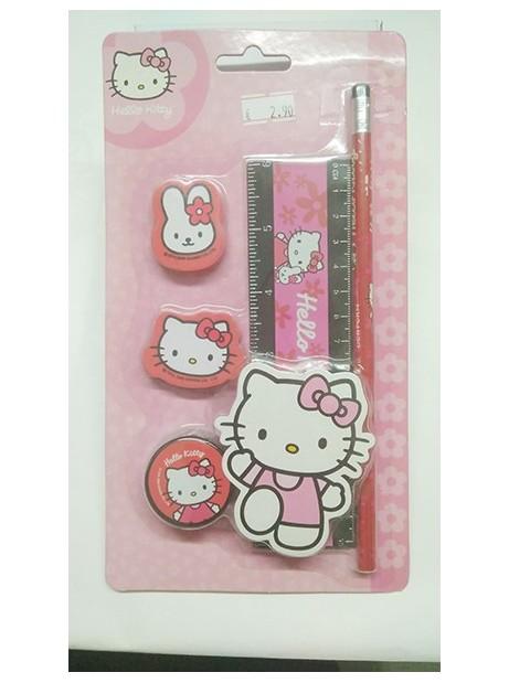 Kit Hello Kitty Cancelleria 2 gomme temperino righello matita calamita