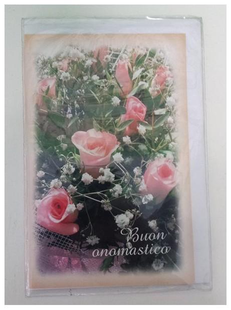 Biglietto Buon Onomastico con Rose rosa