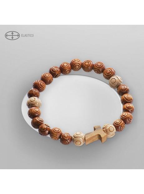 Bracciale in legno con croce elastico