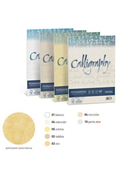 Carta Calligraphy PERGAMENA -  Colore PERLA10 - 190gr CFx50 - A4