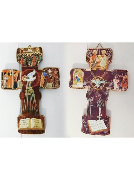 Croce Cresima in legno c/appendino 12,5x8,5 cm